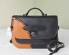 Coach 36974 Black Ginger Pebble Leather Rip Repair Small Link Messenger