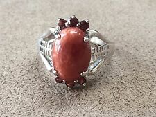 Red Chalcedony Stone and Garnet Sterling Silver 925 Ring Size 8