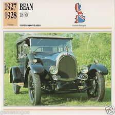 FICHE AUTOMOBILE GLACEE GB CAR BEAN 18/50 1927-1928