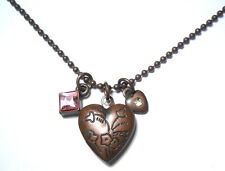 "VINTAGE 1928 HEART LOCKET PENDANT CHARM WITH 16"" CHAIN COPPER TONE COUTURE"