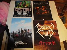 LOT OF 4 POSTERS   METAL +  LED ZEPPELIN    BLACK SABBATH  FAST & FURIOUS   P502