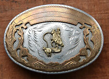 Vintage Hand Made Cowboy Horse Rodeo Calf Roping Western Belt Buckle