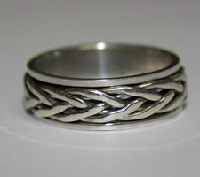 Sterling Silver 925 Weave Pattern Black Accents Size 10.5 Band Ring Spinning