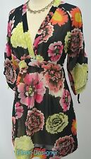 CAbi Gemini Top Blouse 3/4 Sleeve chiffon multi Floral Tunic Boho #400 SZ S NEW