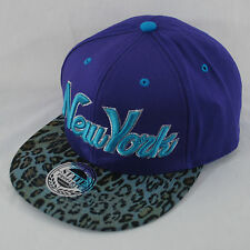 New State Property New York NY Leopard Peak Flat Peak Snapback Baseball Cap Hat