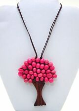 "TREE OF LIFE PENDANT ~ PINK ROUND WOODEN BEADS NECKLACE ~ 21.75"" ~ NEW"