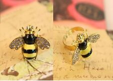 R48 Betsey Johnson Diamond Mini Queen Bumble Bee with Crystal Ring US