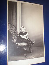 Cdv old photograph child with miniature toy horse c1860s