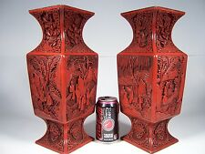 "PAIR C1850S 14"" CHINESE CARVED CINNABAR LACQUER GU VASES FINEST WORK & CONDITION"