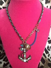 Betsey Johnson Vintage Under The Sea Blue Crystal Anchor Clam Pearl Necklace
