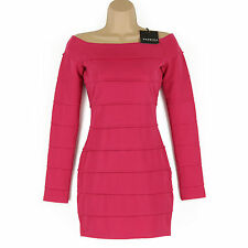 BNWT GORGEOUS HOT PINK LONG SLEEVED SHORT BODYCON PARTY, SUMMER DRESS SIZE XS, 6