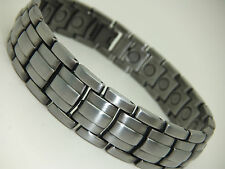 Mens Gun Metal Colour Grey Magnetic Bracelet Arthritis Pain Relief Gift Pouch