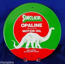 "Sinclair Opaline Motor Oil Dino Gas Round 12"" Metal Tin Sign Vintage Garage"