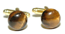 BEAUTIFUL BROWN TIGER'S TIGER EYE STONE CUFF LINKS (010a)