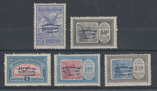 Argentina Sc C20-C24 MNH. 1930 blue Zeppelin First Flight ovpts, Expertised F-VF