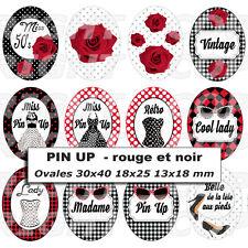 54 Images digitales cabochons PIN UP mode rétro rouge noir 30X40 18x25 13x18 mm