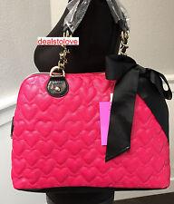 NWT Betsey Johnson Handbag Mine Yours Fuchsia Hearts Black Bow Bag Dome Satchel