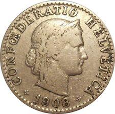 Switzerland Suisse 20 Rappen centimes 1908 KM#29 (S-15).