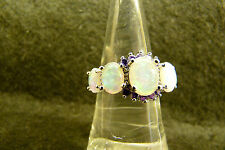 White Fire Opal & Amethyst Gemstone ladies Silver Ring womans fiery STUNNING 10