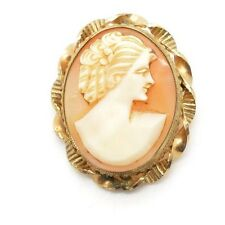 Beautiful VICTORIAN ANTIQUE CAMEO HAND CARVED PIN Brooch Pendant SHELL Gold Tone