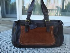 Via Spiga Brown Pebbled Leather Satchel Suede Handbag Purse Large Doctors Bag