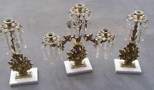 Antique 3 Piece Brass Prism Marble Base Girandole Candelabra Set - Beautiful!