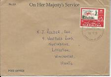 Gibraltar 1970 FDC 1/- Philympia London on Official OHMS Post Office Letter
