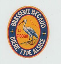 Ancienne étiquette Bière Alcool France Brasserie Becaud  La Cigogne 1