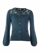Dickins & Jones Black or Teal Wool Lace Yoke Cardigan S M L XL RRP £85 Free Ship
