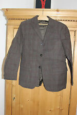 Ancienne veste de grand-père marron à carreaux - Laine - Neuve sans étiquette