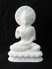 "16"" Large Marble Buddha Carving Natural Carved Thai Amulet Statue White Jade Art"