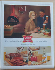 1960 magazine ad for Mller High Life Beer - dining couple drinks Miller beer