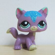 LPS Littlest Pet Shop Purple Cat Blue Sparkle #2386 Figure Toys