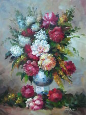"Stockholm Flowers Hand Painted 12""x16"" Oil Painting Floral Canvas Art"