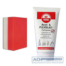 ROTWEISS Rot-Weiss Acryl und Plexiglas Politur + Handpolierschwamm Rot Weiss