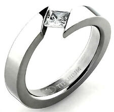 TITANIUM BYPASS TENSION High Polished RING with 4mm SQUARE CZ in a size 7