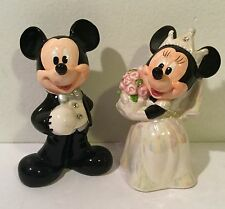 Disney Parks Mickey & Minnie Mouse Wedding Salt & Pepper Shaker Set Cake Topper