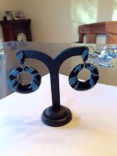 JOAN BOYCE Black Enamel/Turquoise Clip On Earrings