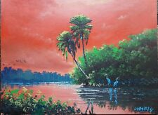 Original Landscape acrylic painting florida art Palms Red Sunset by whirls