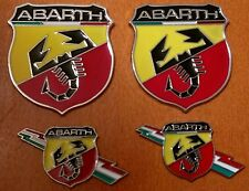 4pcs set ABARTH (FIAT) 3D metal grill fender hood emblem logo insignia decal