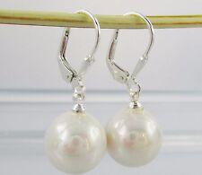Brisuren Perlen Ohrringe 925 Silber Brisur 12mm Muschelkernperlen Weiß Damen