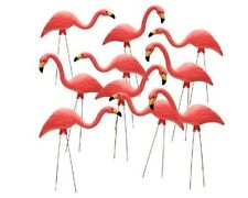 "10 Pack 27"" Pink Flamingos Plastic Yard Garden Lawn Art Ornaments Retro Statue"