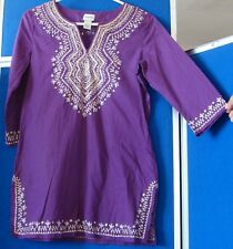 EUC Retro CHICO'S Embroidered TUNIC TOP 3/4 Sleeve Sz 0 Cotton INDIA Made PURPLE