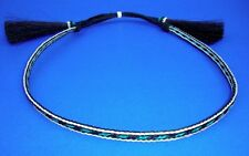 Western Decor Cowboy HAT BAND 3 Strand Blk/Blue Woven Horsehair With 2 Tassels