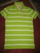 NWT HOLLISTER PIQUE Green/White-striped POLO SHIRT...Size SMALL