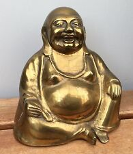 ANTIQUE VINTAGE LARGE 13cm BRASS LAUGHING BUDDHA FIGURINE FIGURE STATUE