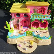 Mini Polly Pocket Landhaus 12 Figuren Bauernhof Hacienda Schwein Katze Hund Hase