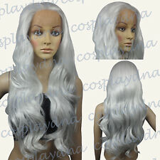 28 inch Hi_Temp Lace Front  Silvery White Curly  Long Cosplay DNA Wigs S01A