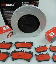 BREMBO pads & BREMAXX slotted disc brake rotors FRONT & REAR VW TOUAREG