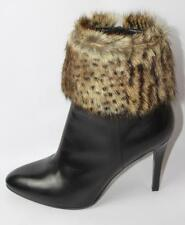 AUTH $1495 YSL Saint Laurent Debbie Fur High Heel Black Leather Boot 39